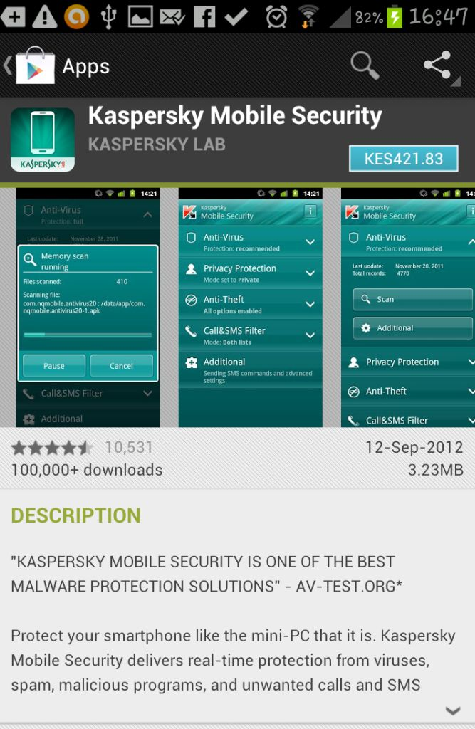 Kaspersky Mobile Security Mugshot Feature Google Play Store | JUUCHINI