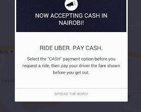 Uber Taxi Cabs Testing Cash Payments In Nairobi SCREENSHOT JUUCHINI